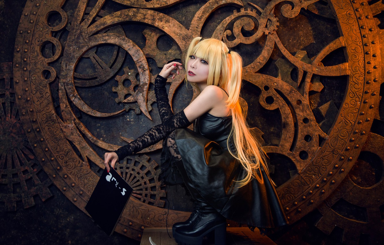 Photo wallpaper look, girl, face, pose, style, black, boots, makeup, dress, costume, gear, outfit, book, image, Asian, …