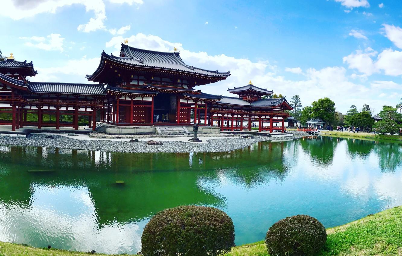 Photo wallpaper pond, Park, Japan, temple, Japan, Uji, Uji, The byodo-in temple, Byodo-in Temple, Pavilion Of The …