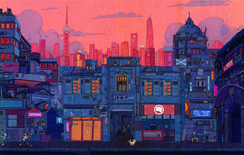 Photo wallpaper Auto, The city, Robot, Robots, Style, Building, City, Fantasy, Architecture, Art, Style, Fiction, Cyber, Cyberpunk, …