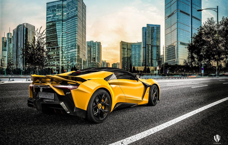 Photo wallpaper Auto, Yellow, The city, Rendering, Supercar, Concept Art, Sports car, SuperSport, Transport & Vehicles, Benoit …