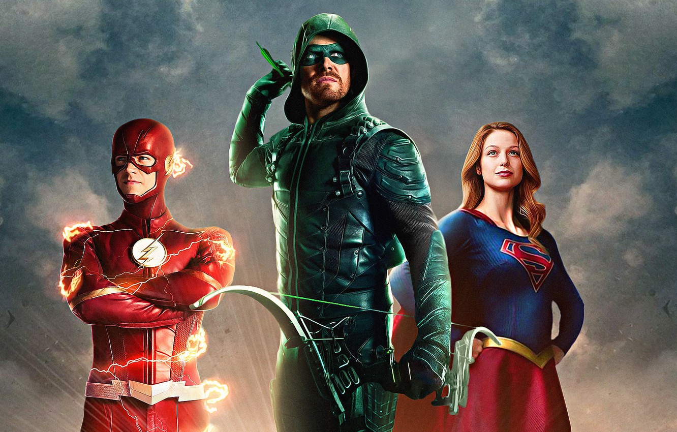 Photo wallpaper Arrow, Stephen Amell, Oliver Queen, Supergirl, Flash, Barry Allen, The CW Television Network, Melissa Benoist, …