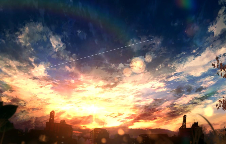 Photo wallpaper the sky, sunset, home, rainbow