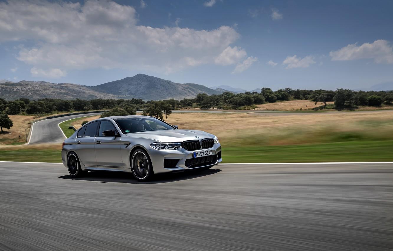 Photo wallpaper asphalt, grey, speed, track, BMW, sedan, 4x4, 2018, four-door, M5, V8, F90, M5 Competition