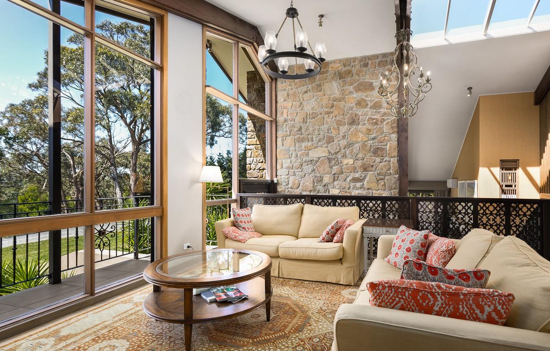 Photo wallpaper sofa, window, table, living room