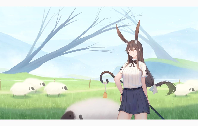 Photo wallpaper girl, nature, sheep, ears