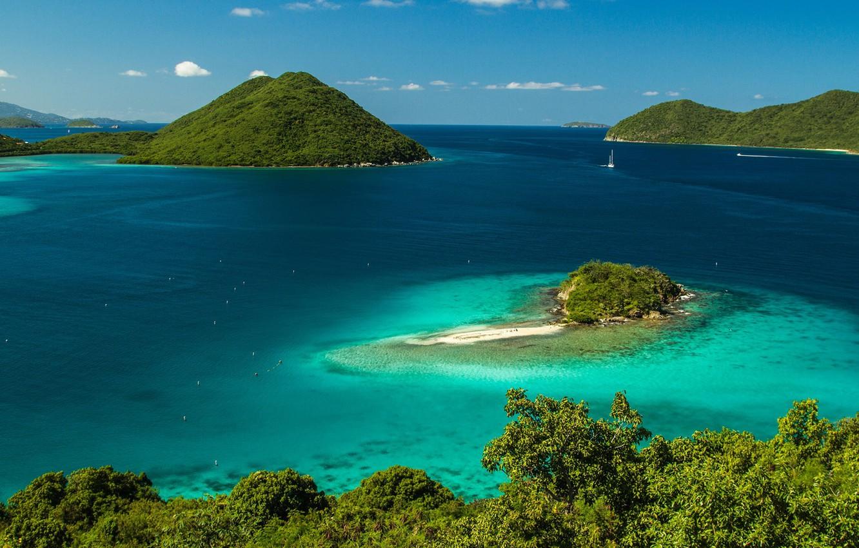 Photo wallpaper Islands, tropics, the ocean, coast, Bay