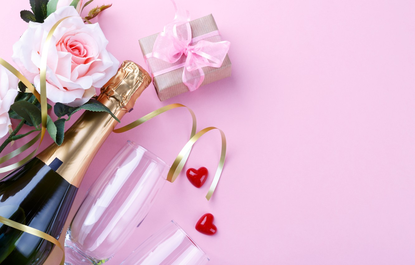 Photo wallpaper gift, rose, champagne