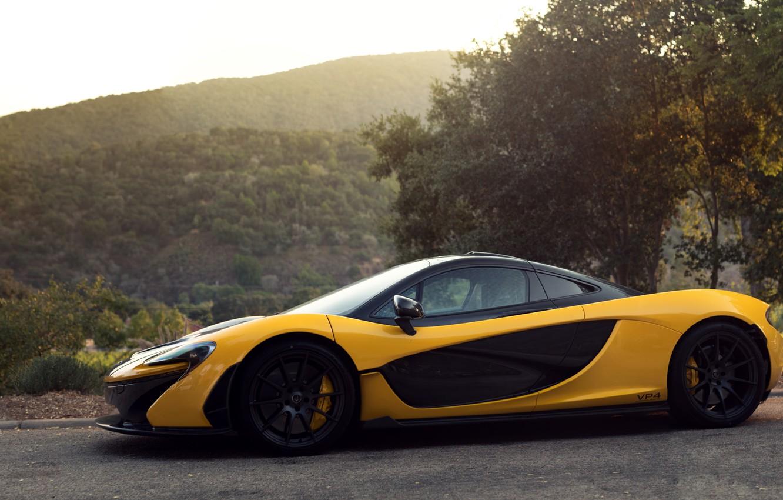Photo wallpaper side view, Yellow, Supercar, McLaren P1