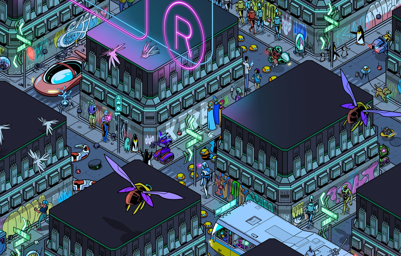 Photo wallpaper Home, The city, Future, Robot, Robots, People, Building, City, Art, Art, Robot, Robots, The view …