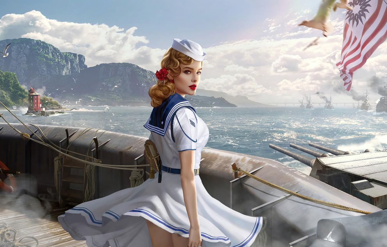 Photo wallpaper sea, look, lighthouse, sailor, world of warships, sailor girl