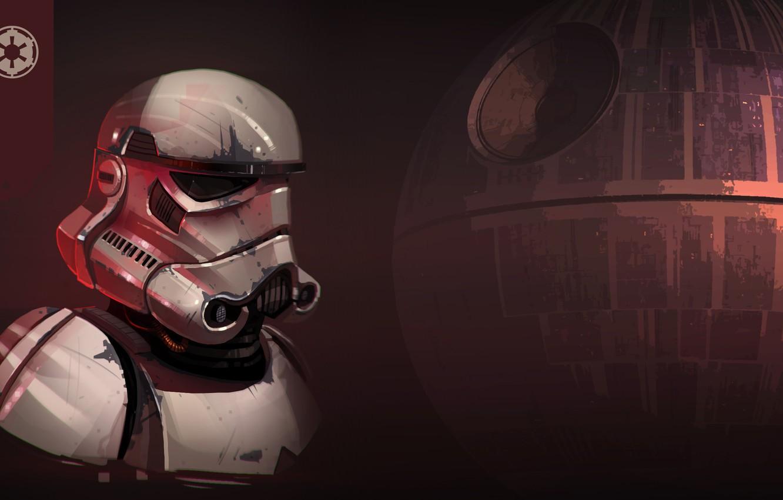 Photo wallpaper Figure, Star Wars, Helmet, Art, Attack, Stormtrooper, The death star, Imperial Stormtrooper, by Luke Viljoen, …