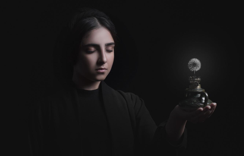 Photo wallpaper girl, dandelion, lamp, Nasrun)