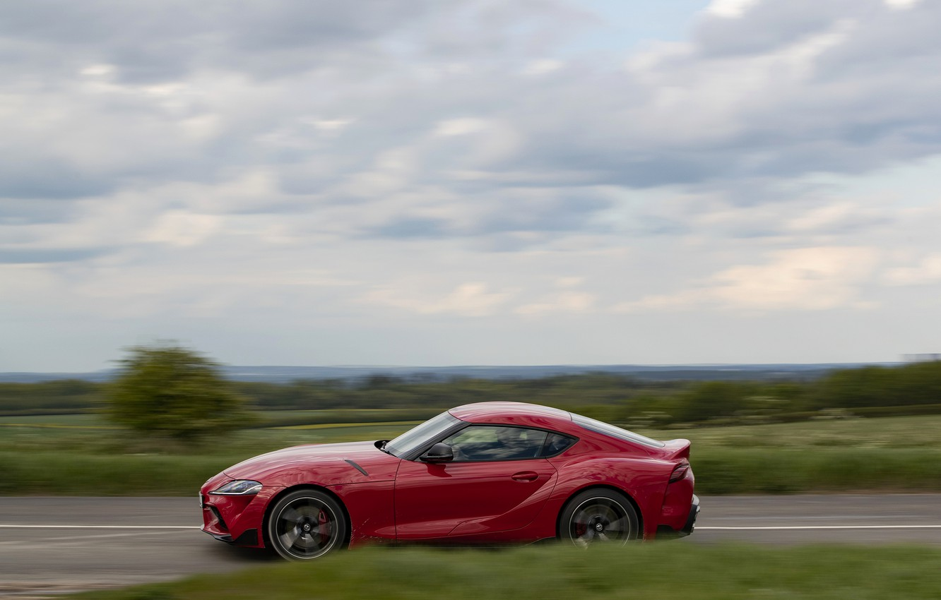 Photo wallpaper red, coupe, Toyota, side, in motion, Supra, the fifth generation, mk5, double, 2019, UK version, …
