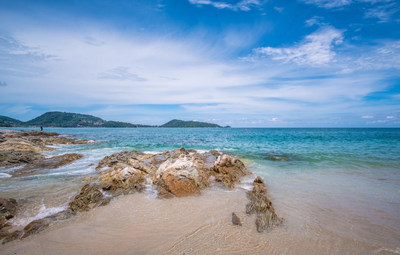 Photo wallpaper sand, sea, wave, beach, summer, stones, shore, summer, beach, sea, ocean, seascape, sand, wave