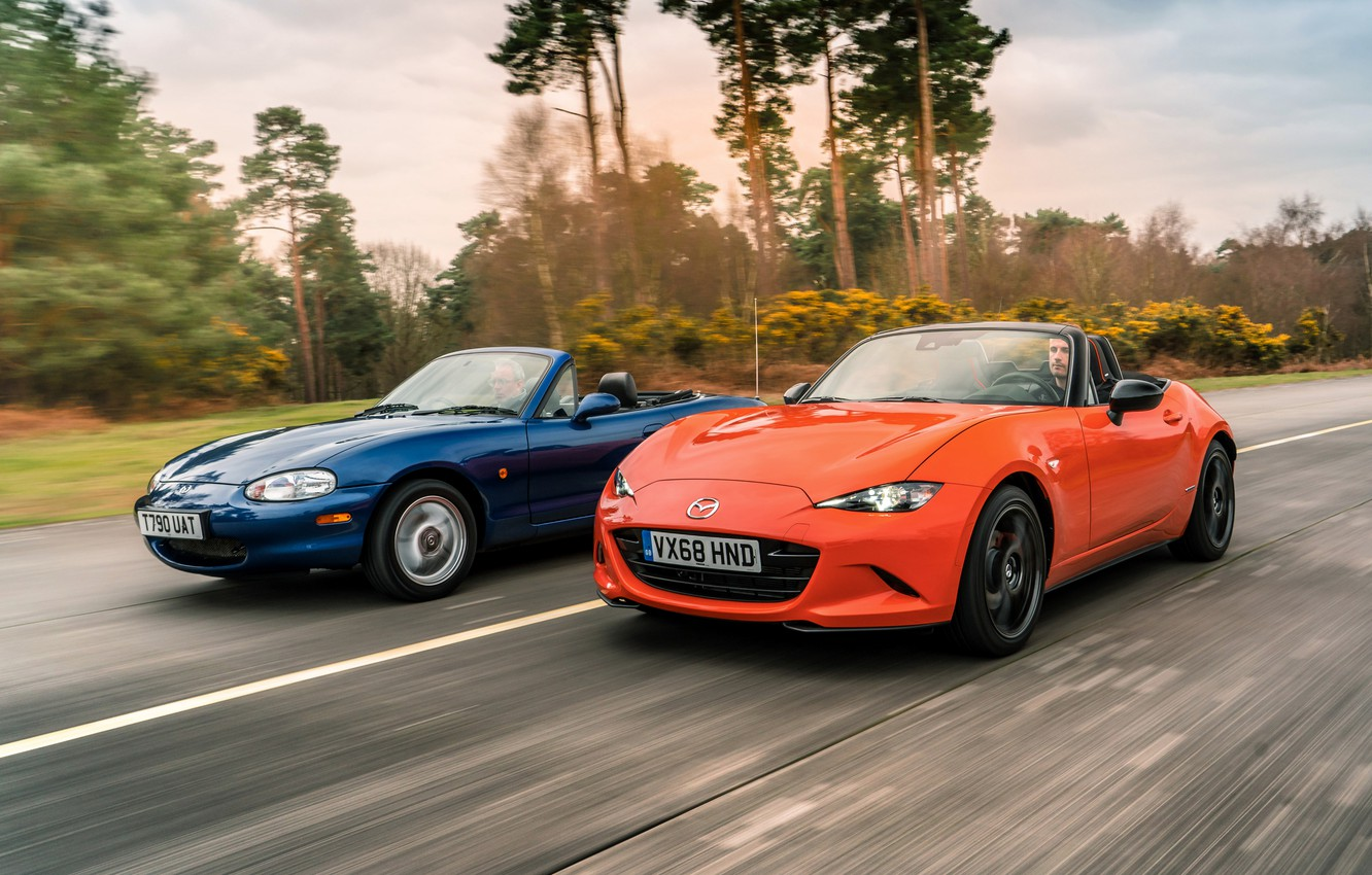 Photo wallpaper orange, blue, Mazda, MX-5, roadsters, fourth generation (ND), the second generation (NB)