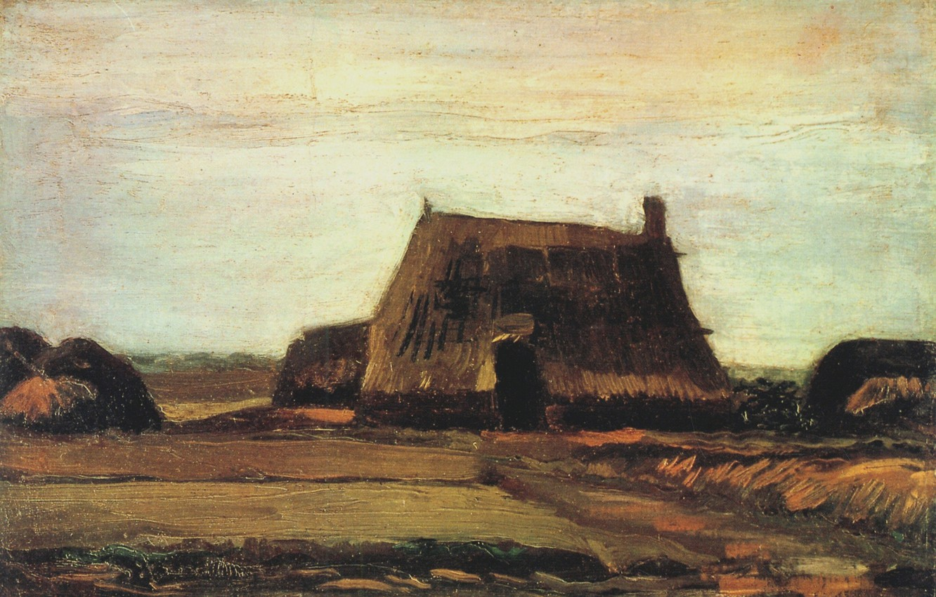Photo wallpaper hut, Vincent van Gogh, Farm with Stacks of Peat