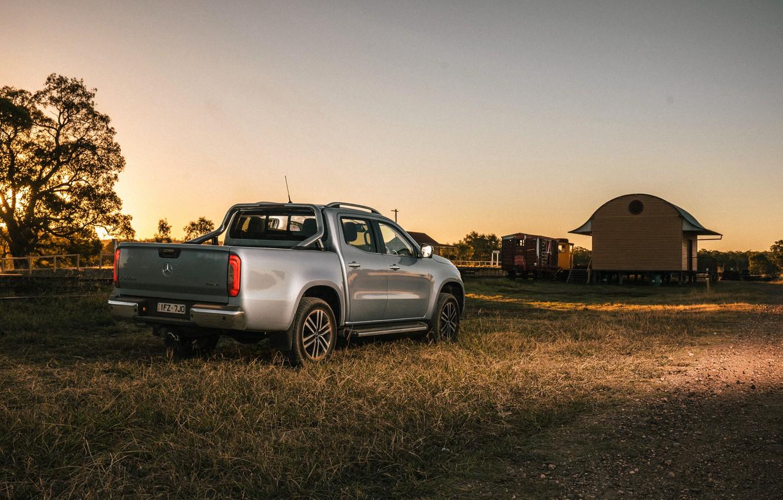 Photo wallpaper grass, Mercedes-Benz, the evening, Parking, pickup, 2018, X-Class, gray-silver