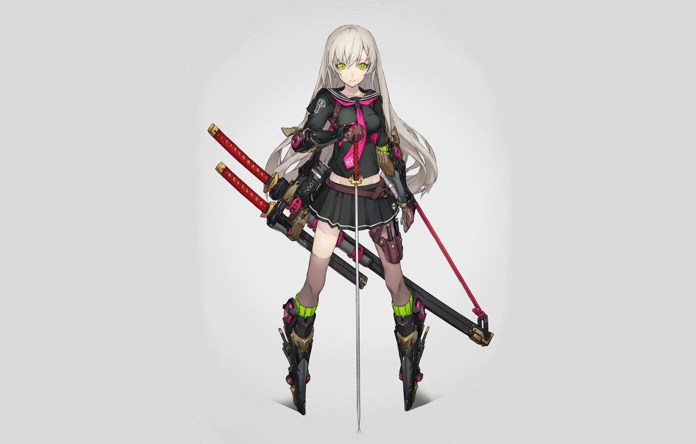 Photo wallpaper girl, weapons, cyborg