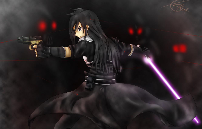 Photo wallpaper gun, sword, red eyes, the fight, Kirito, black cloak, in the dark, red lines, Death …