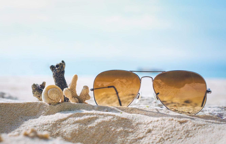 Photo wallpaper sand, sea, beach, summer, stay, glasses, shell, summer, beach, sea, sand, vacation, sunglasses