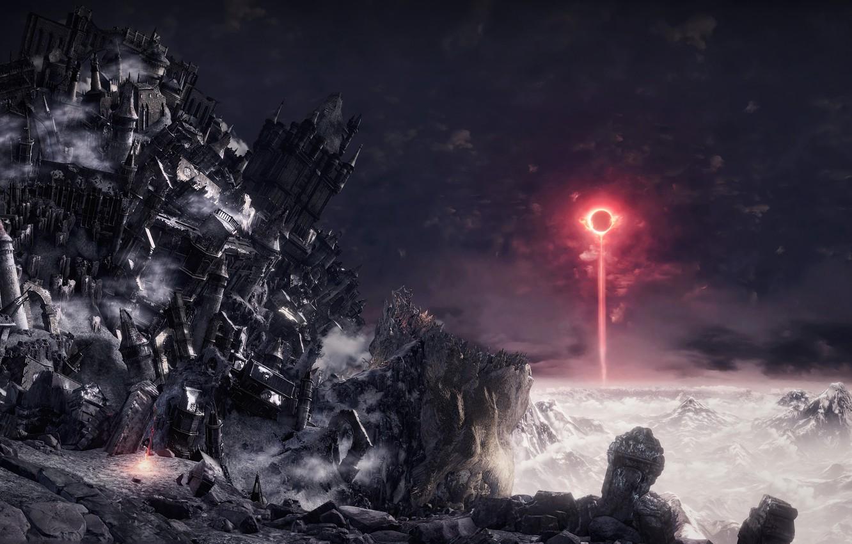Photo wallpaper mountains, ray, Eclipse, Dark Souls III, разрушение замка, меч битвы