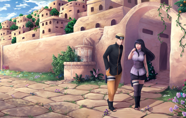 Photo wallpaper the city, Naruto, Uzumaki Naruto, Naruto the Last Movie, Hyuuga HInata, by Larissa Saarinen