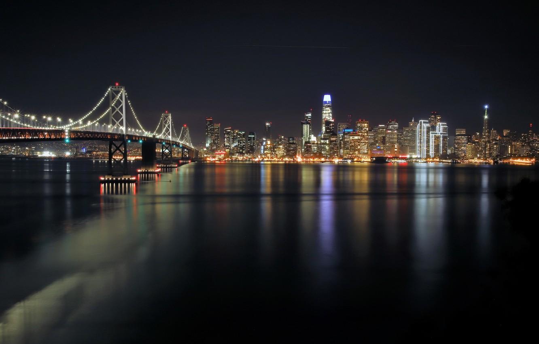 Photo wallpaper night, bridge, the city, SAN FRANCISCO
