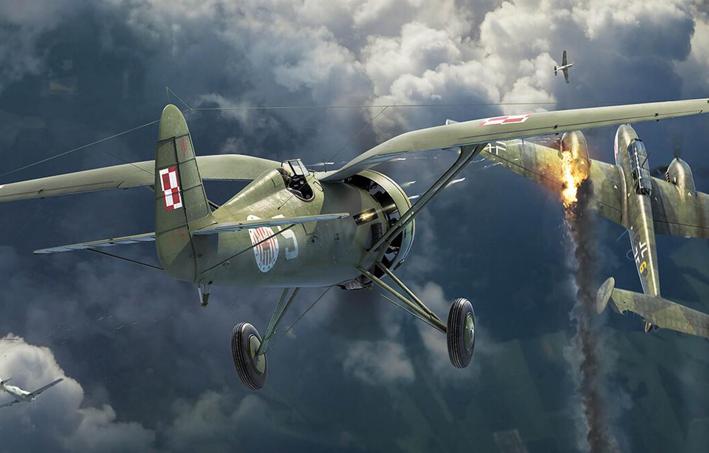 Photo wallpaper PZL P.11, Messerschmitt Bf.110, twin-engine heavy fighter, Antonis (rOEN911) Karidis, GMT GAMES Wing Leader, польский …