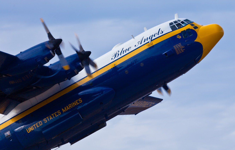 Photo wallpaper flight, the plane, Lockheed, military transport, Hercules, Blue Angels, C-130, USMC, US Marines