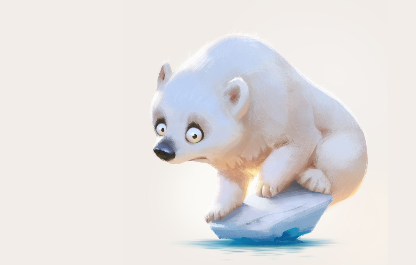 Photo wallpaper mood, art, bear, pole, children's, icicle, Lynn Chen, Weren't there more ice last year?