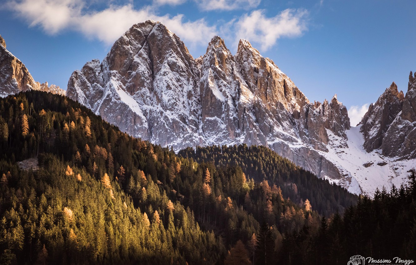 Photo wallpaper forest, the sky, the sun, clouds, snow, trees, mountains, nature, rocks, Alps, Italy, Massimo Mazza