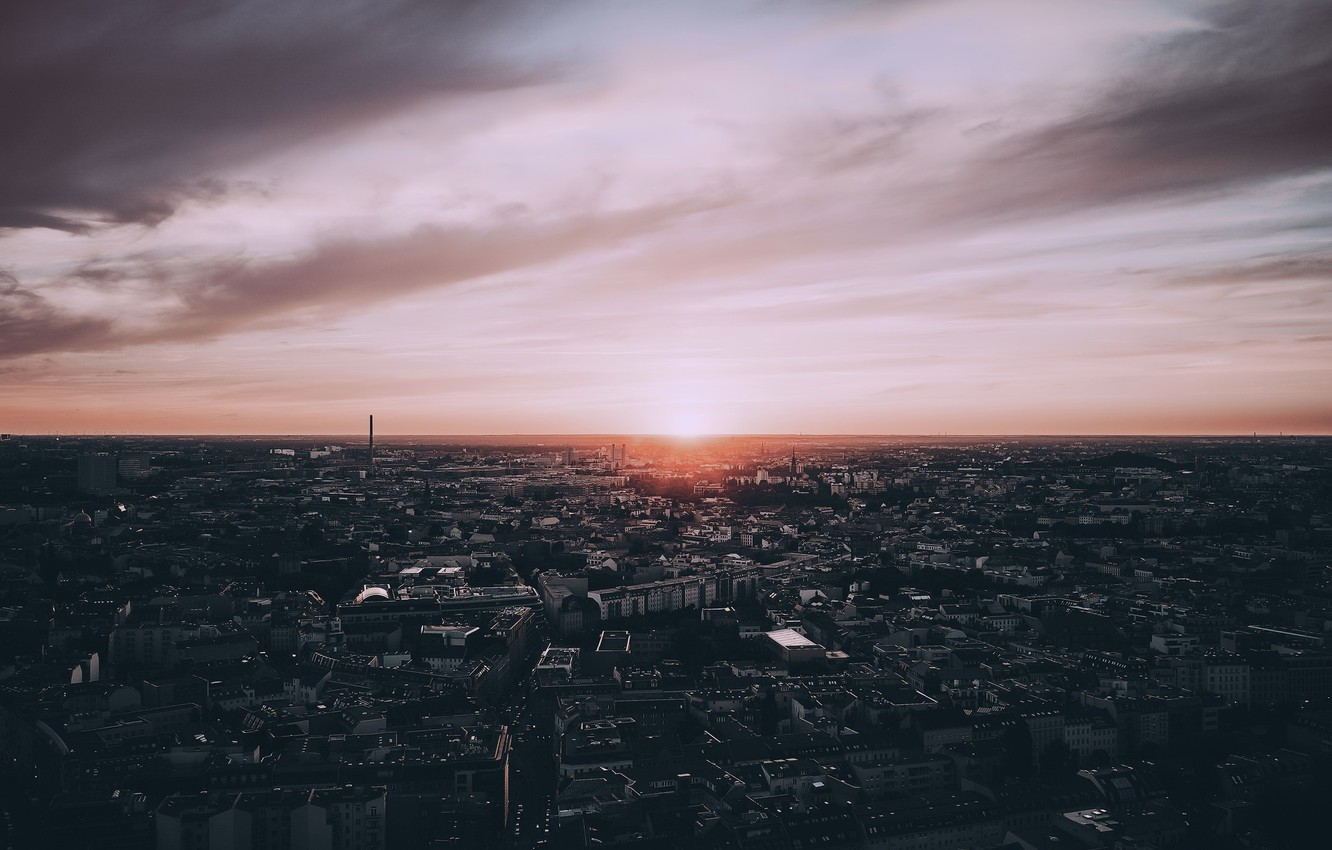 Photo wallpaper sunset, the city, Berlin, The District Of Mid