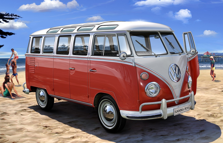 Photo wallpaper Beach, Van, Volkwagen T1, VW1, Van hippie