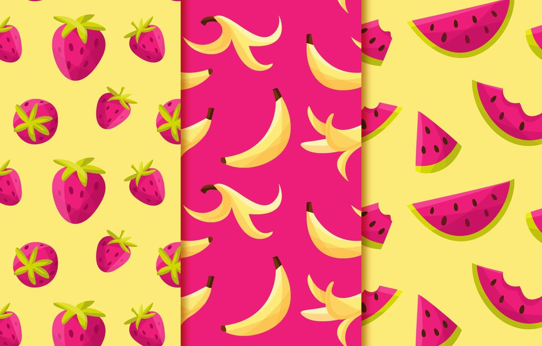 Photo wallpaper background, texture, strawberry, fruit, Purple, banana, yellow, patterns, fruits