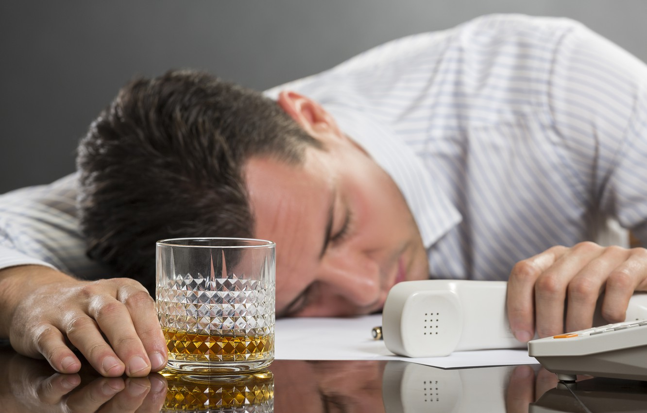 Photo wallpaper whiskey, telephone, work, fatigue