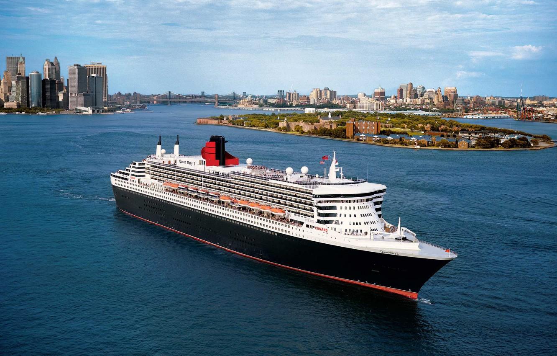 Photo wallpaper The ship, Queen Mary 2, Queen Mary, Passenger ship, Passenger liner, Cunard Line, M/V Queen …