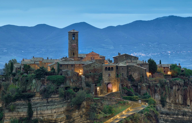 Photo wallpaper landscape, mountains, bridge, the city, rock, home, the evening, Italy, Civita di Bagnoregio, Dying city, …