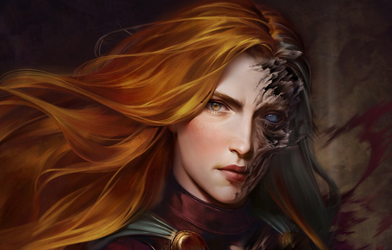Photo wallpaper look, girl, face, art, witch, red hair