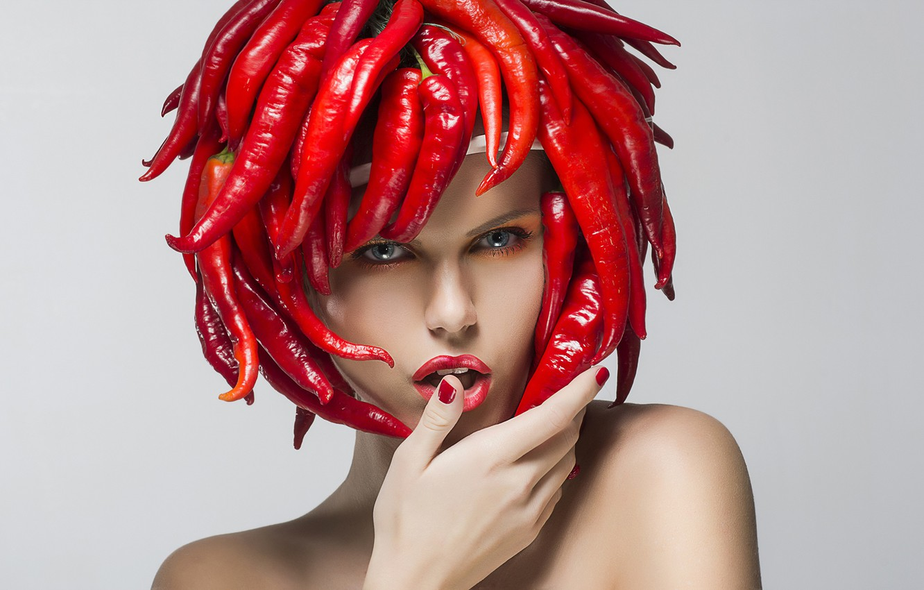 Photo wallpaper look, girl, red, face, creative, grey, background, hand, portrait, makeup, pepper, beauty, manicure, Chile, headdress