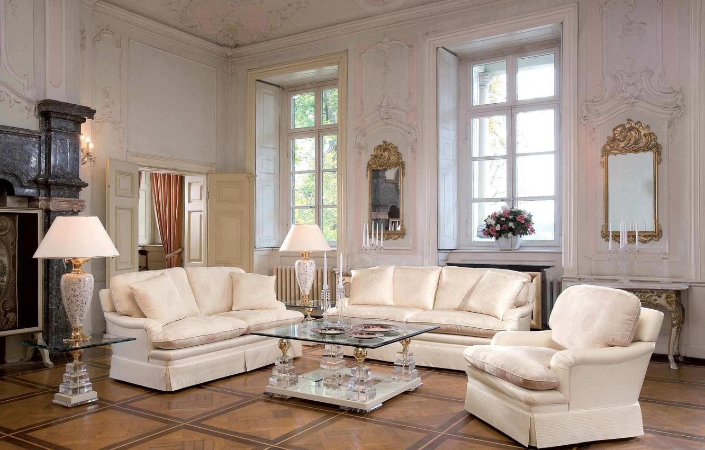 Photo wallpaper flowers, lamp, sofa, Villa, chairs, mirror, luxury, table, living room