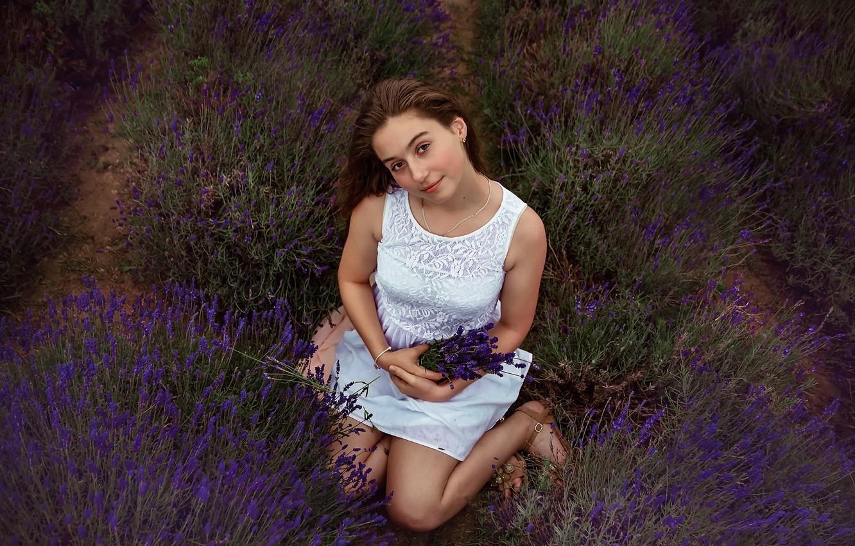 Photo wallpaper summer, girl, lavender