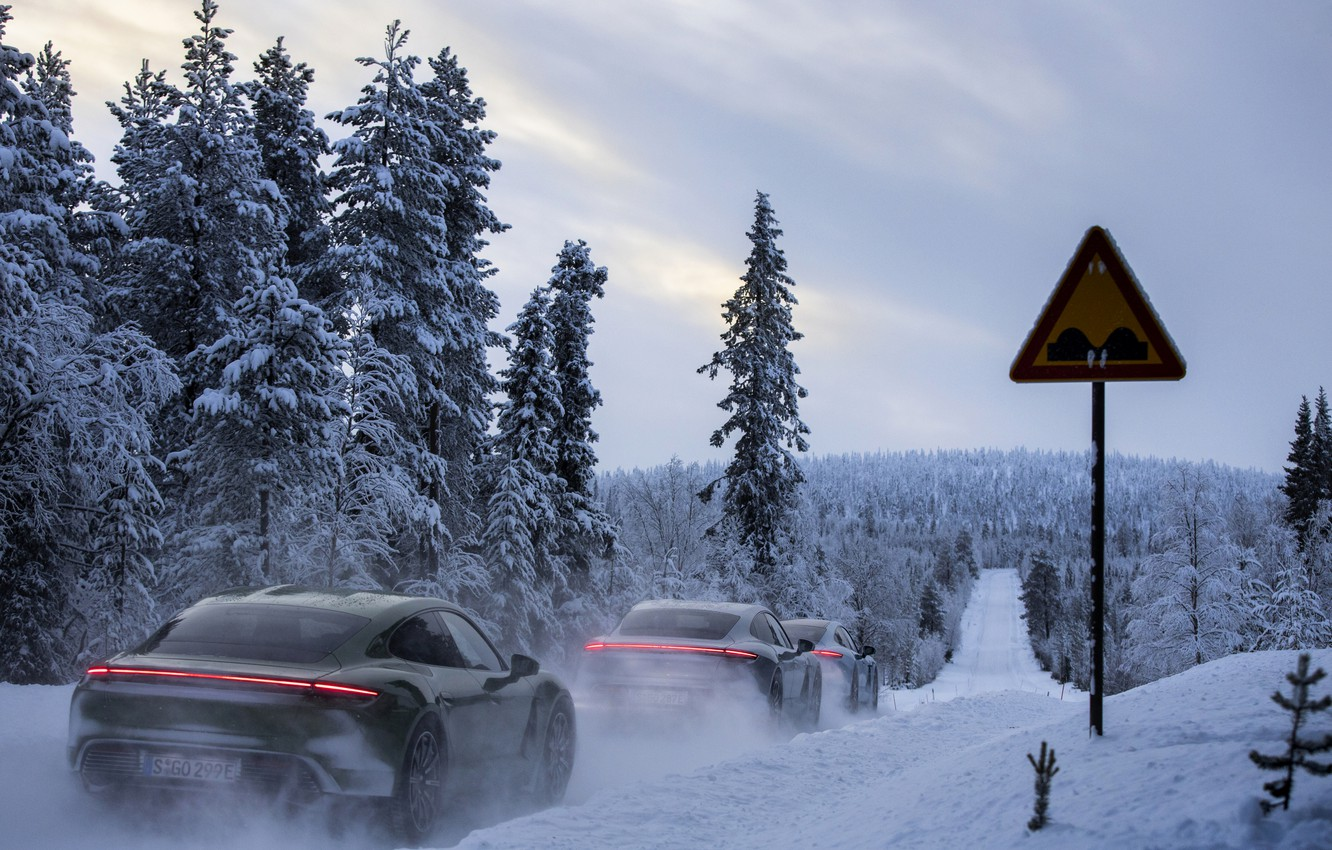 Photo wallpaper road, forest, snow, sign, Porsche, 2020, Taycan, Taycan 4S