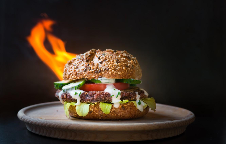 Photo wallpaper background, fire, plate, Burger