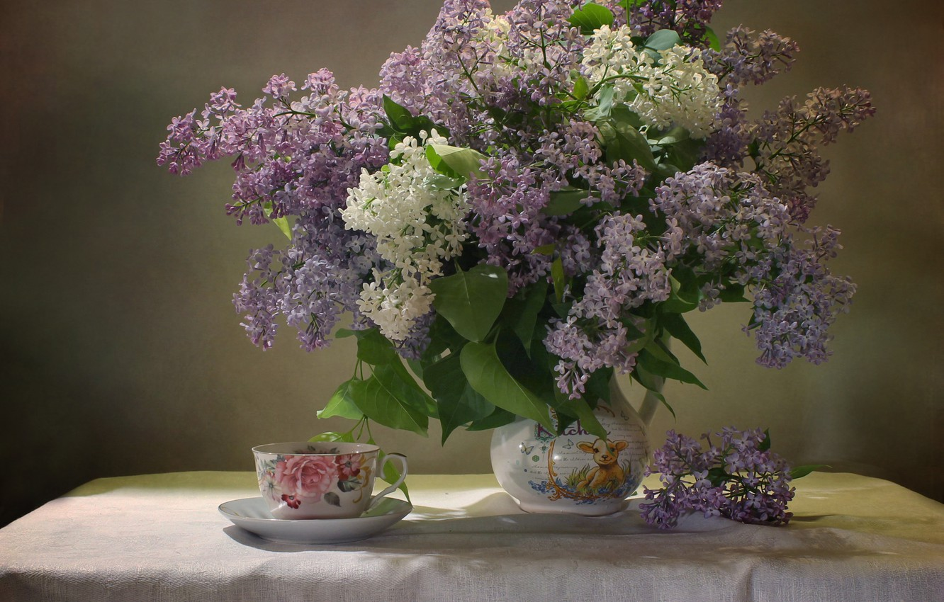 Photo wallpaper branches, table, Cup, pitcher, lilac, tablecloth, Kovaleva Svetlana