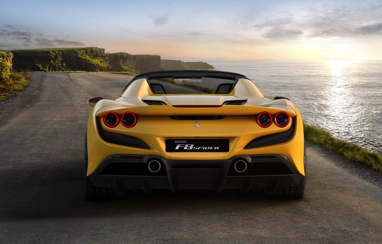 Photo wallpaper water, lights, Ferrari, sports car, Spider, Ferrari F8