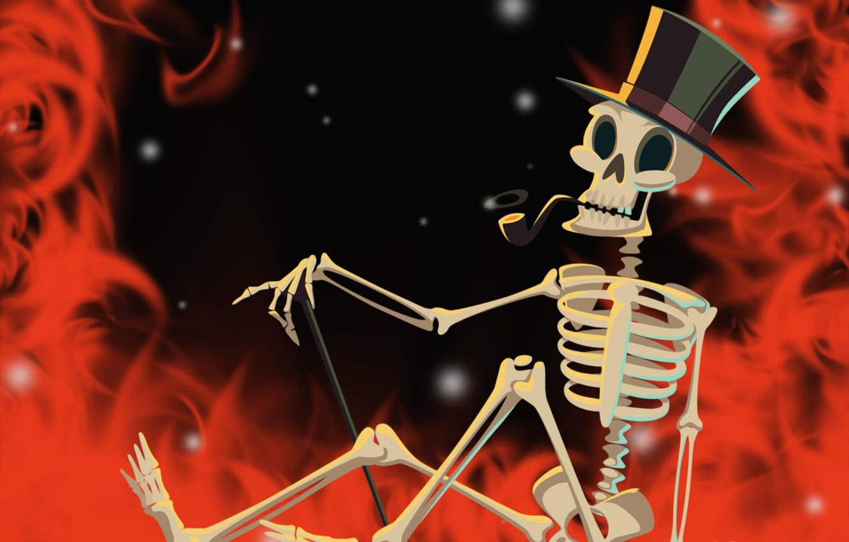 Photo wallpaper fire, skeleton, Halloween, helloween