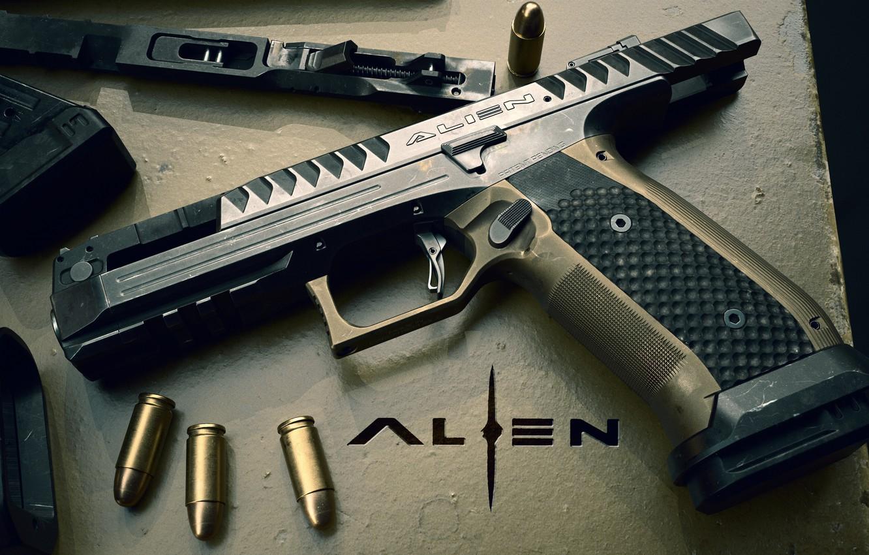 Photo wallpaper gun, weapons, pistol, weapon, Alien, render, Alien, Logo, Laugo