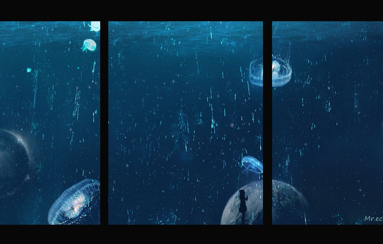 Photo wallpaper girl, space, fiction, jellyfish, under water