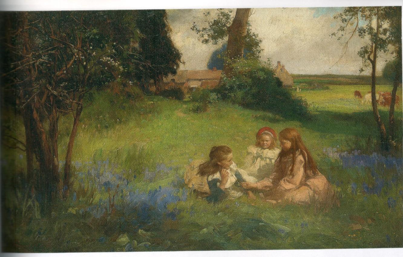 Photo wallpaper nature, village, COLTHURST, three girls, LIFES GOLDEN DAYS