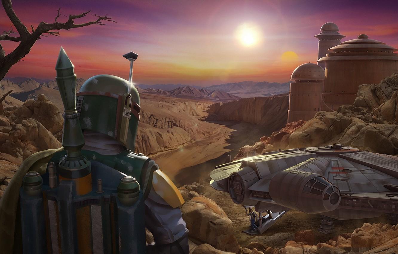 Photo wallpaper Star Wars, Boba Fett, Characters, Science Fiction, Millenium Falcon, ILM Art Dept, by Darren Pattenden, …